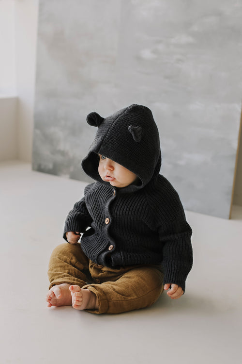 Bear Cardigan - Shadow Marle
