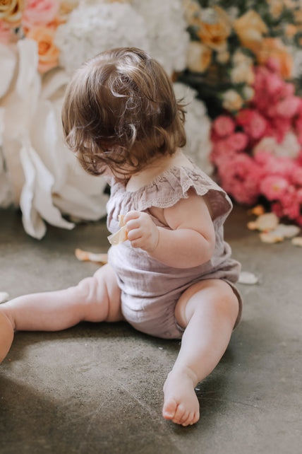 Organic Cotton Muslin Lace Playsuit - Sweetpea