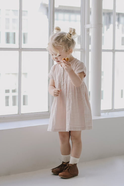 Organic Cotton Muslin Short Sleeve Dress - Candy Floss