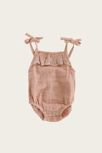 Organic Cotton Muslin Luna Playsuit - Sunset