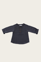 Organic Cotton Muslin Parker Shirt - Pebble