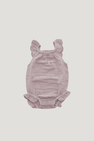 Organic Cotton Muslin Lace Playsuit - Rose Taupe