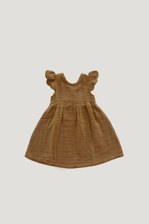Organic Cotton Muslin Lace Dress - Bronze