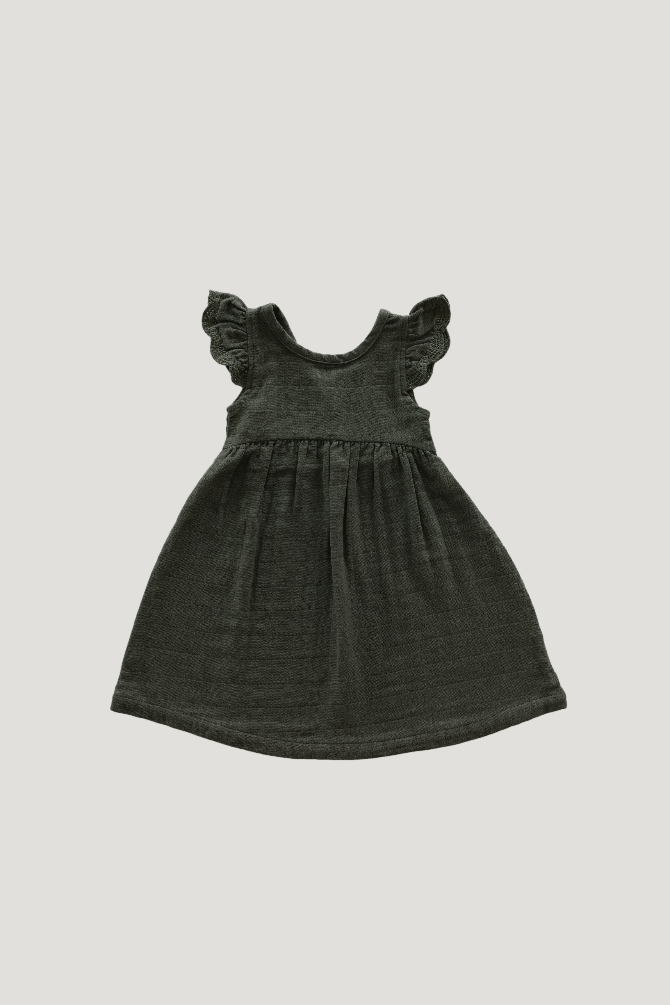 Organic Cotton Muslin Lace Dress - Juniper