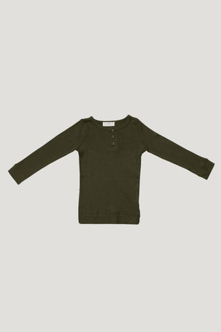 Cotton Modal Henley - Dark Grey