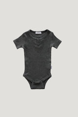 Original Cotton Short Sleeve Tee Bodysuit -Dark Grey marle