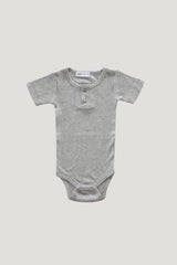 Original Cotton Short Sleeve Tee Bodysuit - Light Grey Marle