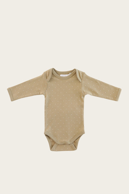 Organic Cotton Longsleeve Bodysuit - Tiny Dots Fern