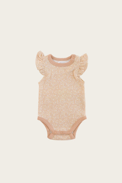 Organic Cotton Frill Singlet Bodysuit - Meadow Floral