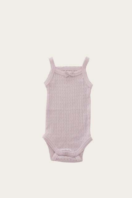 Organic Cotton Pointelle Singlet Bodysuit - Old Rose