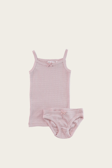 Organic Cotton Pointelle Underwear Set - Old Rose