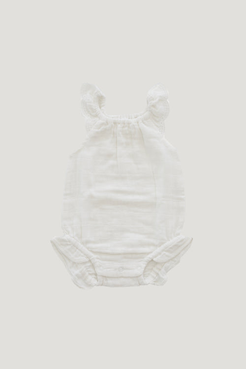 Organic Cotton Muslin Lace Playsuit - Coconut