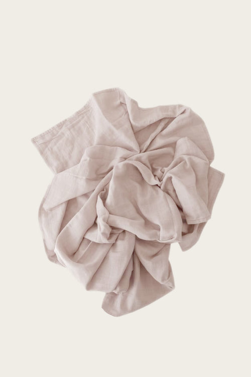Organic Cotton Muslin Wrap Blanket - Rose Dust