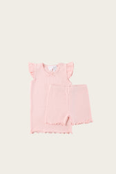 Organic Cotton Summer Pyjama Set - Blush