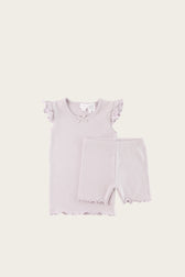 Organic Cotton Summer Pyjama Set - Soft Lilac