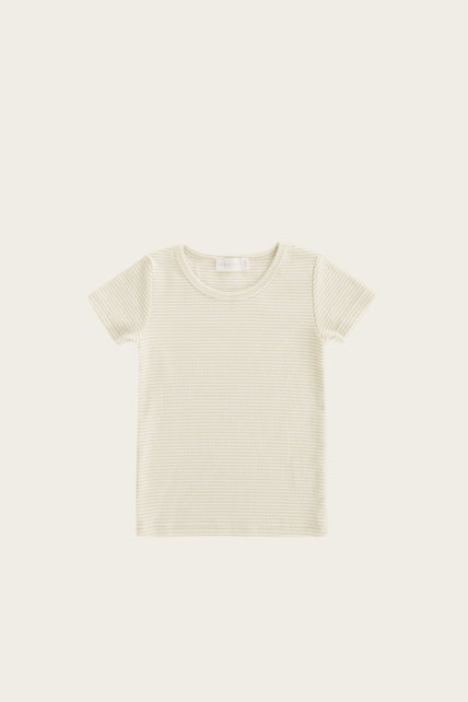 Organic Cotton Tommy Tee - Asparagus Stripe