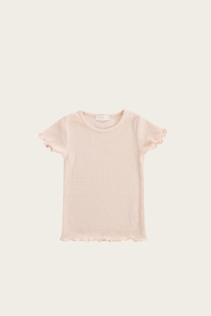 Organic Cotton Lily Tee - Peach Stripe