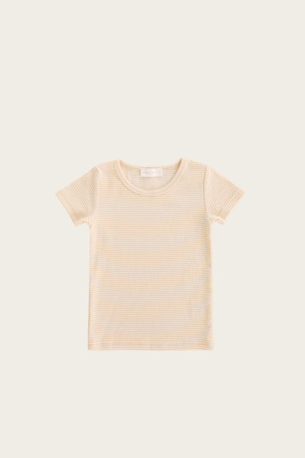 Organic Cotton Tommy Tee - Honey Peach Stripe