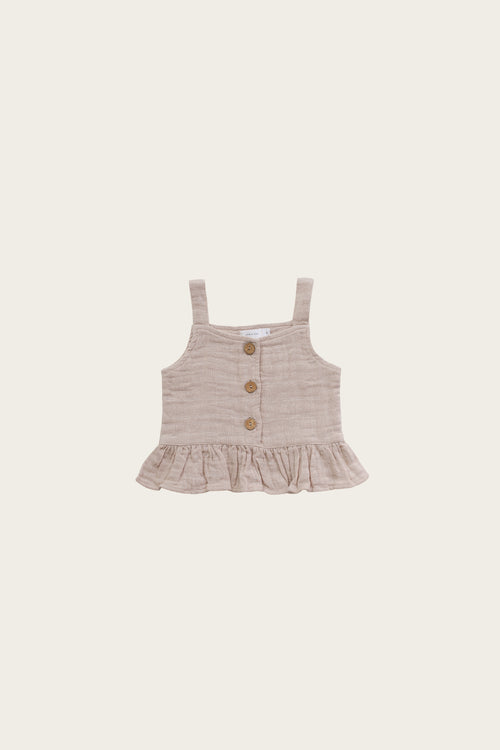 Organic Cotton Muslin Indie Singlet - Rose Dust