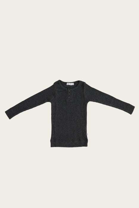 Organic Essential Long Sleeve Henley - Dark Grey Marle
