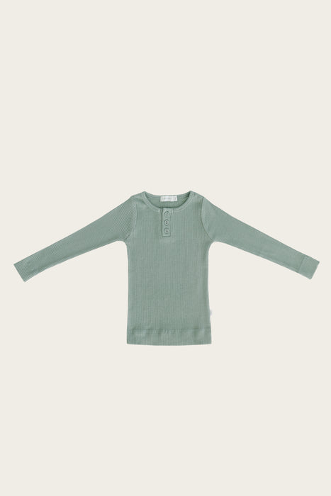 Organic Essential Long Sleeve Henley - Haze