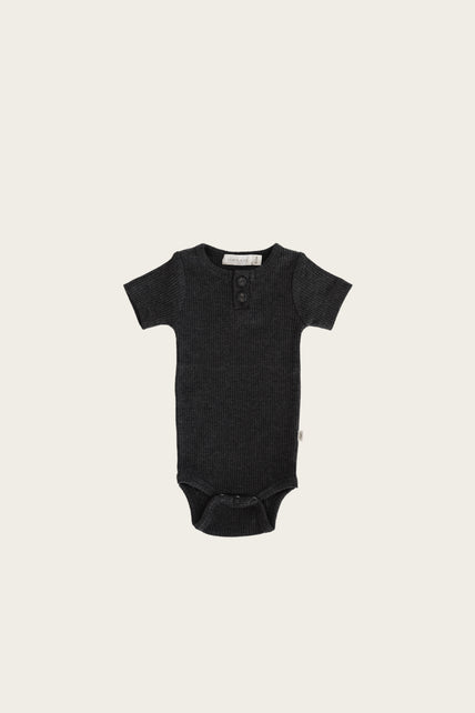 Organic Essential Tee Bodysuit - Dark Grey Marle