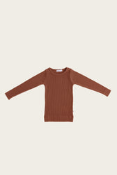 Organic Essential Long Sleeve Top - Copper