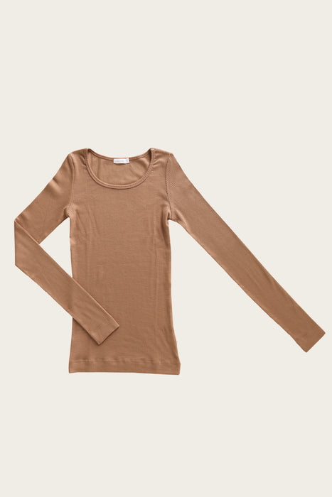 Organic Essential Women's Long Sleeve Top - Caramel
