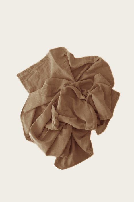 Organic Cotton Muslin Wrap Blanket - Camel