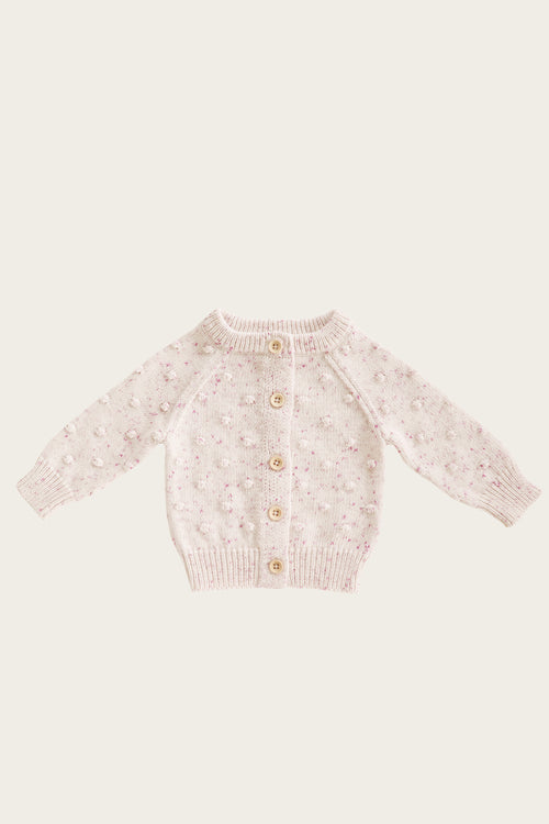 Dotty Cardigan - Raspberry Fleck