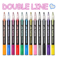 8 /12 Pcs Double Line (Outline) Pen