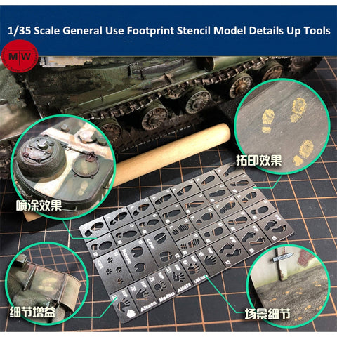 1/35 Scale General Use Foot, Hand and Paw Print Stencil