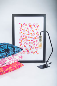 FRAMED Limited Edition A2 Pink and Orange Confetti Wall Print