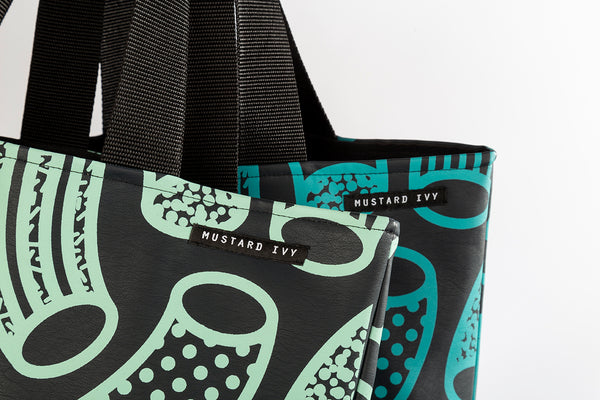 RILEY Macaroni print Navy and Mint Long Handle Tote in Vegan Leather
