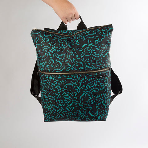 BEATRIX Balloon dog Print Navy and Turquoise Backpack in Vegan Leather