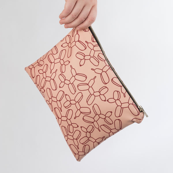 AGATHA Claret Balloon Dog Clutch Bag in Blush Vegan Leather