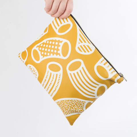 AGATHA Mustard & White Macaroni Print Clutch Bag in Vegan Leather