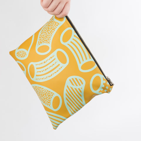 AGATHA Mustard & Mint Macaroni Print Clutch Bag in Vegan Leather