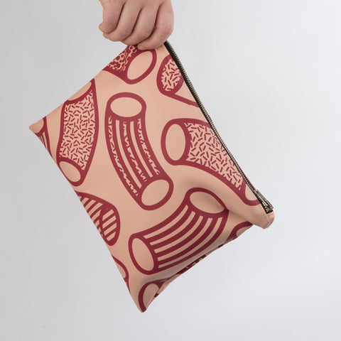 AGATHA Blush & Claret Macaroni Print Clutch Bag in Vegan Leather