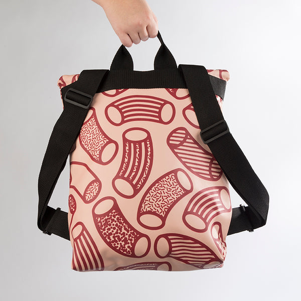 BEATRIX Macaroni Print Blush Pink and Claret Backpack in Vegan Leather