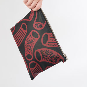 AGATHA Navy & Claret Macaroni Print Clutch Bag in Vegan Leather