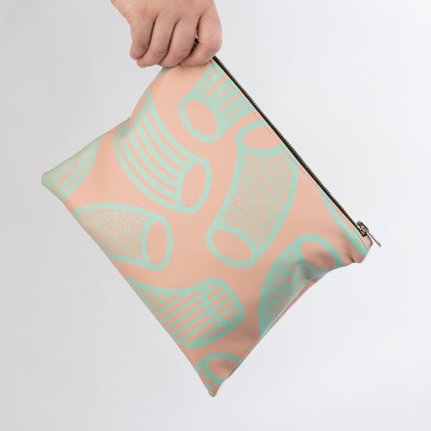 AGATHA Pink & Mint Macaroni Print Clutch Bag in Vegan Leather