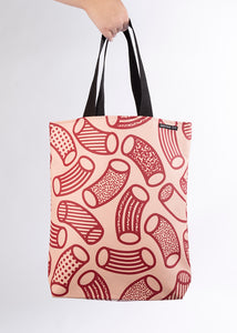 RILEY Macaroni print Blush Pink and Claret Long Handle Tote in Vegan Leather