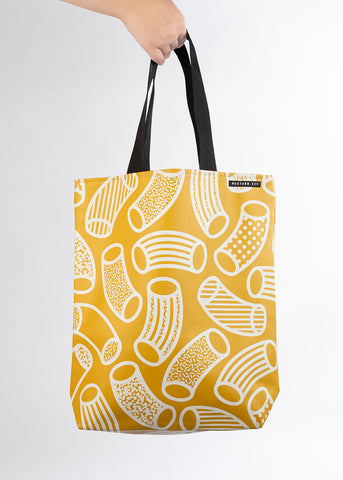 RILEY Macaroni Print Mustard and White Long Handle Tote in Vegan Leather