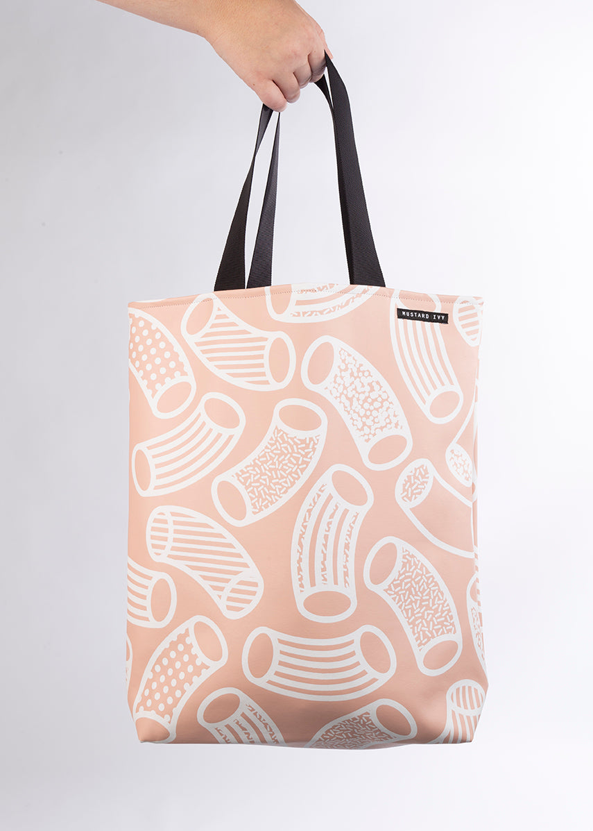 RILEY Macaroni print Blush Pink and White Long Handle Tote in Vegan Leather