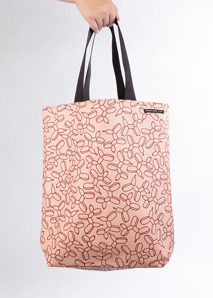 RILEY Balloon Dog Print Long Handle Blush and Claret Tote in Vegan Leather