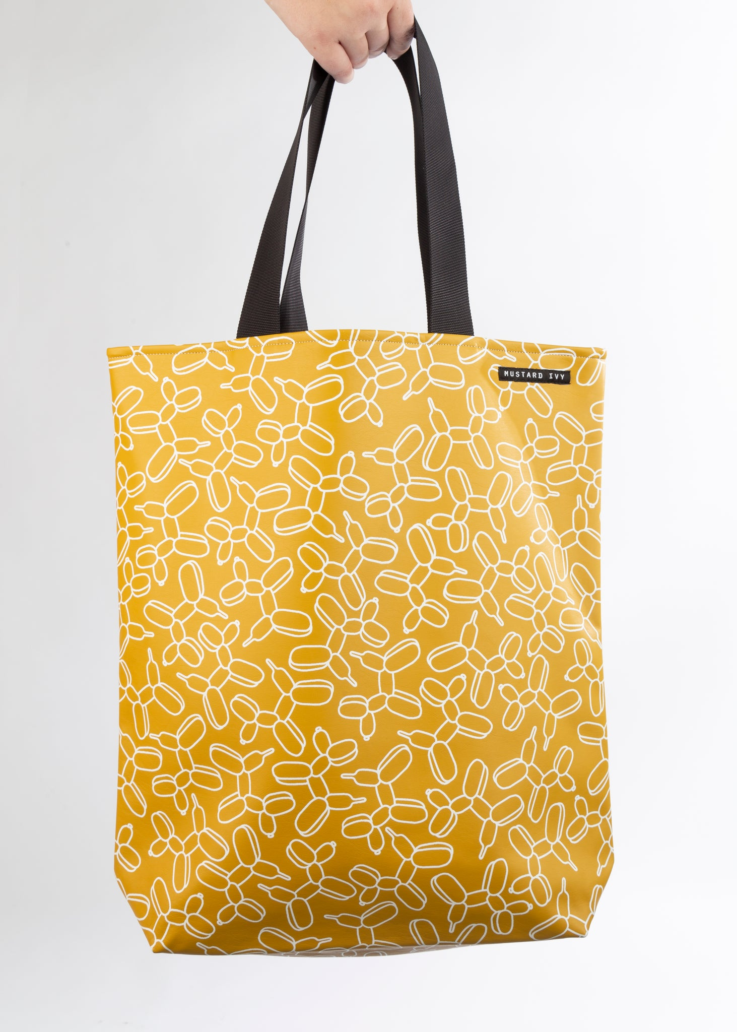 RILEY Balloon Dog Print Long Handle Mustard Vegan Leather Tote