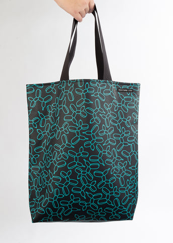 RILEY Balloon Dog Print Long Handle Navy and Turquoise Tote in Vegan Leather
