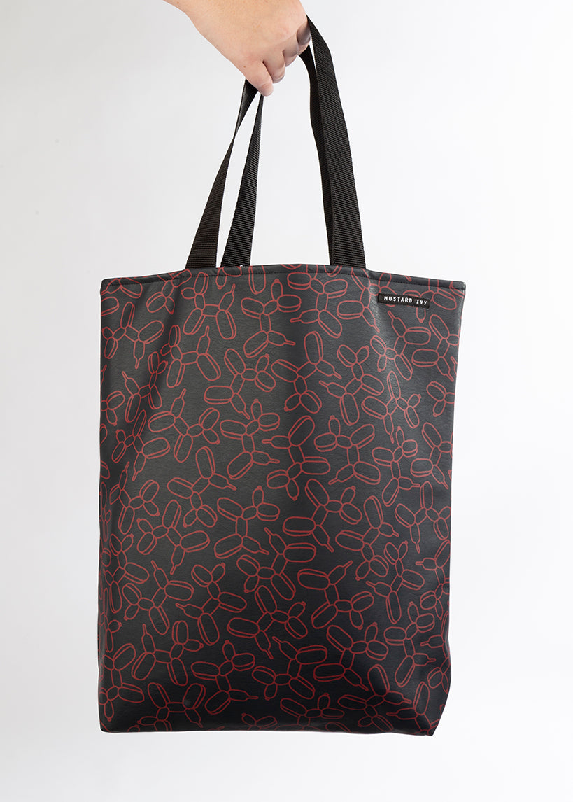RILEY Balloon Dog Print Long Handle Navy and Claret Tote in Vegan Leather