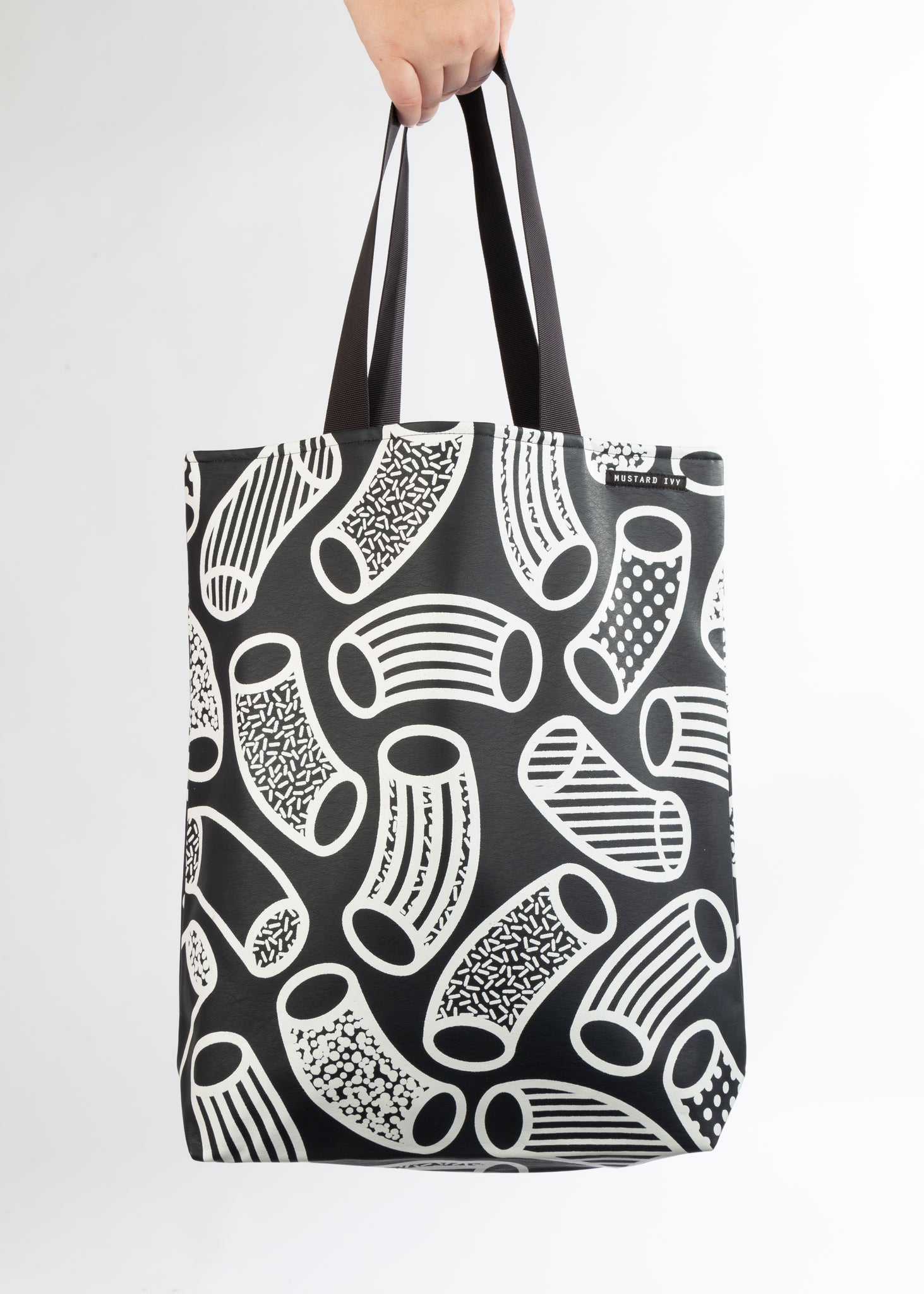 RILEY Macaroni Print Long Handle Navy and White Tote in Vegan Leather